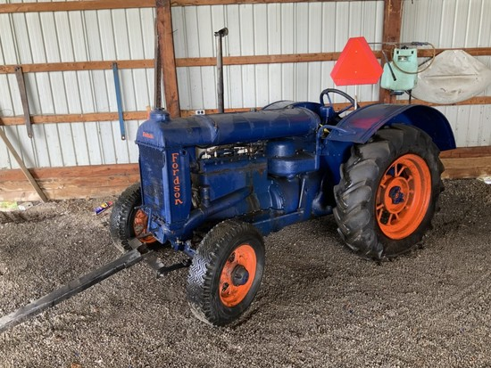 Fordson-'36 (SN795274) with pully & magneto- orange rims. Not Running- Motor may be seized up