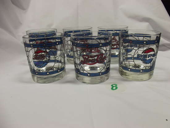 Pepsi-Cola cups (6) Stain Glass