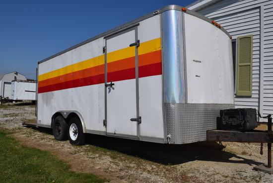 18 Foot Enclosed cargo trailer w/ rear door & tandem axles