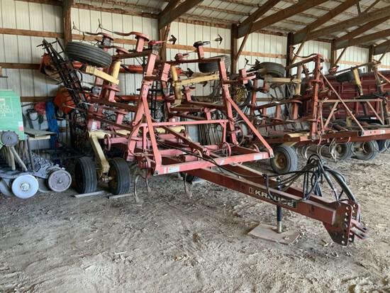 Krause Mod. 4200-24' field cultivator w/ hyd. fold, k-tines & HD rear 4-bar harrow