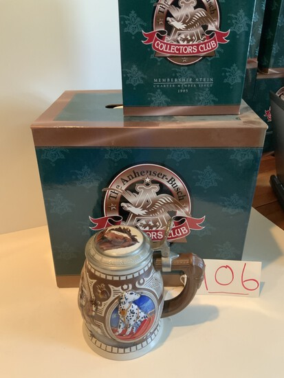 Collectors Club 1995 Budweiser CLYDESDALES AT THE BAUERHOF MEMBERSHIP STEIN