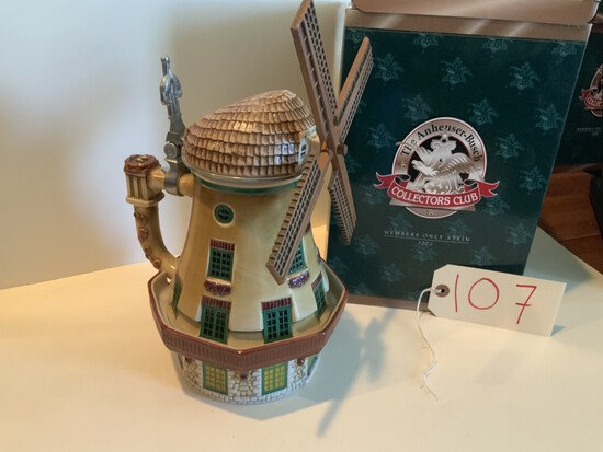 """Collectors Club 2002 """"BEVO MILL"""" MEMBERS ONLY STEIN"""