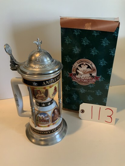 """Collectors Club 2000 """"A CELEBRATION OF ANHEUSER-BUSCH ACHIEVEMENTS"""" MEMBERS ONLY STEIN"""