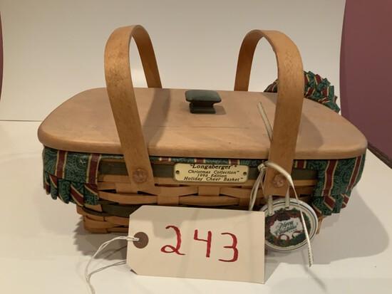 Longaberger Basket 1996 Christmas collector holiday cheer basket w/ cloth & plastic protector