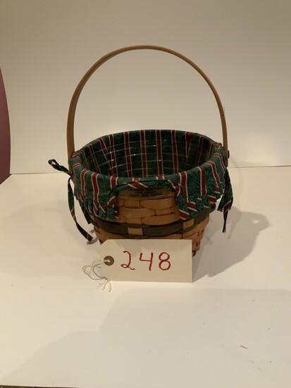 Longaberger Basket 1994 Glad Tidings Basket w/ Cloth and protective liner Jingle Bell Basket