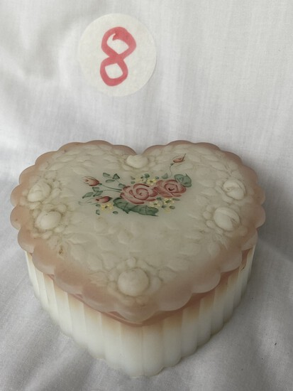 Fenton Heart Shaped Trinket Box, Artist Signed