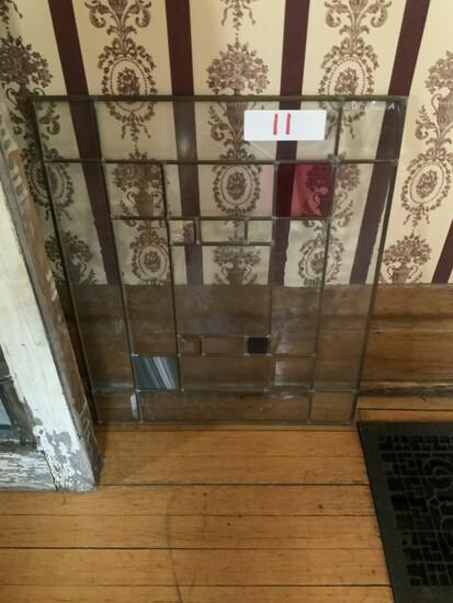 2 by 2 leaded stain glass window