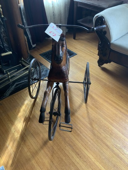 Horse  tri-cycle horse haired tail metal spoke wheel