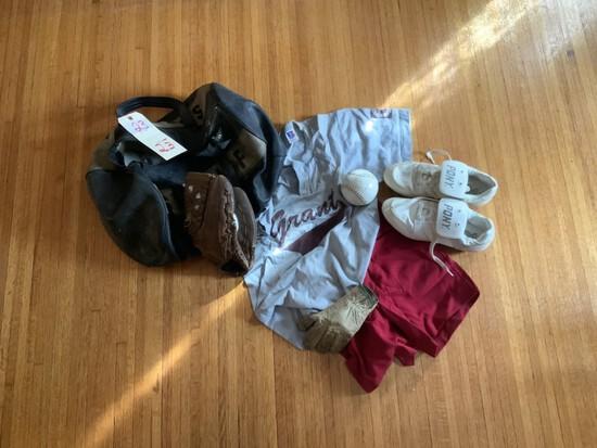 Baseball uniform w/ sheriff bag, mitt uniform etc.