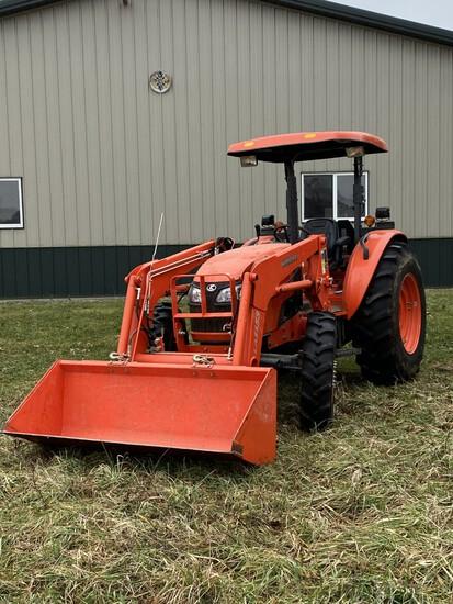 12 Kubota M7040 MFWD diesel tractor w/ROPS canopy w/LA1153 hyd. Kubota loader & mat. Bucket, 3-SCV's