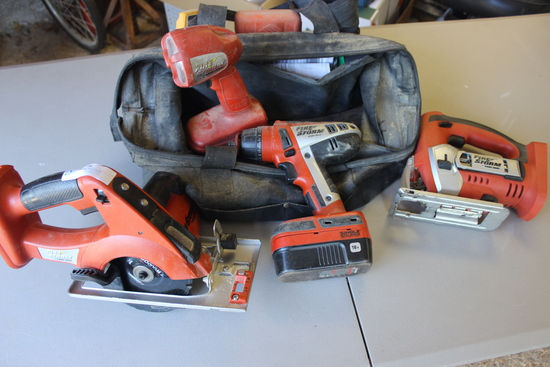 Black and Decker Firestorm 18v Combo Power Tool Set including Saw, Drill, Jig-Saw and Light. Bits an