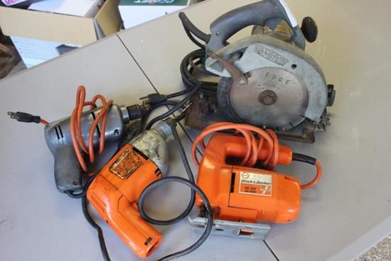 "Craftsman Circular Saw, Black and Decker Jig-Saw, Black and Decker 3/8"" Drill, Pro Hardware 1/4"" Dri"
