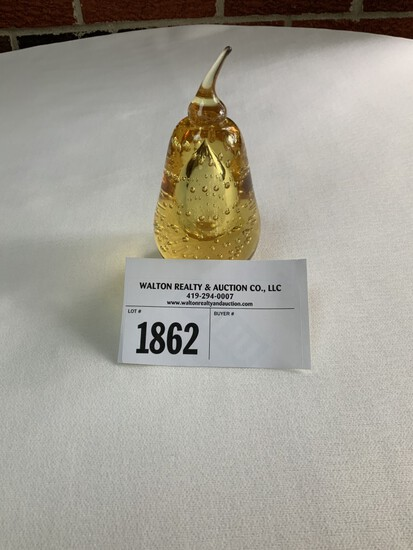 Tiffin Golden Glass Pear Paperweight with Large Bubble and Small Bubbles