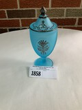 Candy Dish Blue w/Silver Overlay