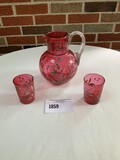 Beautiful Old Cranberry Glass Pitcher with 3 Matching Glasses with Flower Design (only 2 glasses pic