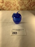 Tiffin Royal Blue Glass Apple Paperweight w/Large Bubble in Center Surrounded by Small Bubbles