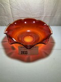 Tiffin Red Amberina Fluted Large Bowl