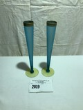 Tiffin Blue and Yellow Satin Bud Vases Pair with Gold Trim