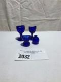 Royal Blue Eye Wash Glasses, etc., 4 Pieces