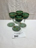 Tiffin Killarney Green and Crystal Stemware with Gold Trim (Set of 4)
