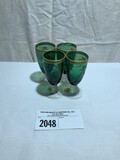 Tiffin Killarney Green and Crystal Sherbets with Gold Trim (Set of 4)