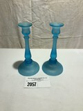 Tiffin Blue Satin Tall Candlestick Holders