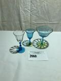 Tiffin Miscellaneous Blue and Vaseline Stemware (3 Pieces)
