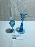 Tiffin Blue Satin Vase and Blue Candlestick Holder (2 Piece Set)