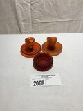 Tiffin Desert Red Candlestick Holders and small dish (3 Piece Set)
