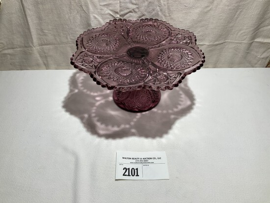 Tiffin Purple Cake Stand w/ etched mold number