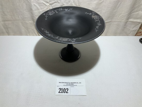 """Tiffin Black Satin Silver Overlay Compost, 10"""" wide, 7"""" tall"""