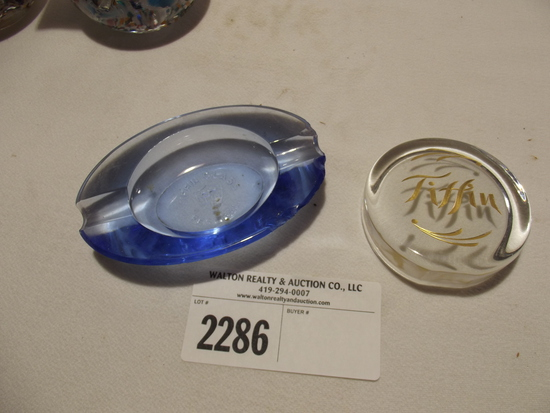 Tiffin Glass Festival ash tray & Logo Paper weight