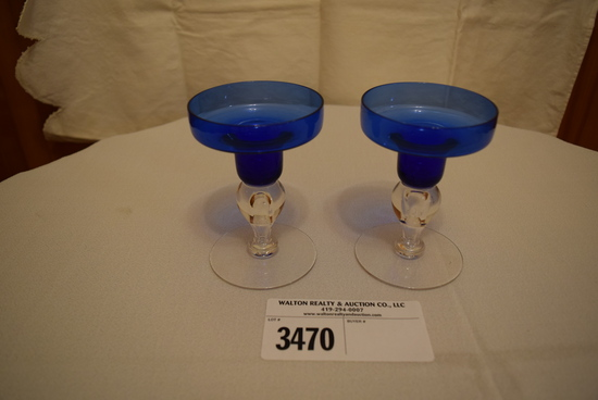 Tiffin Blue Candle Holders w/clear bubbled stem