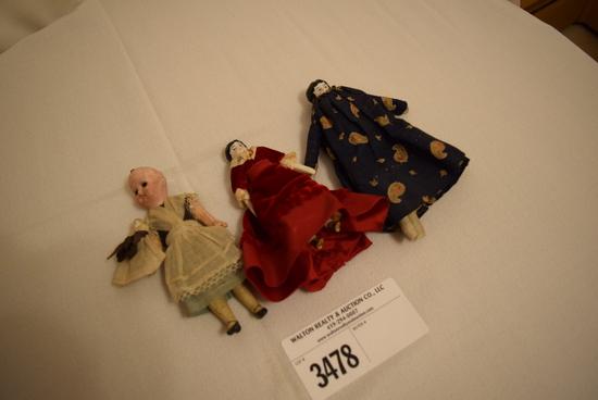 3 Old Miniature China Dolls