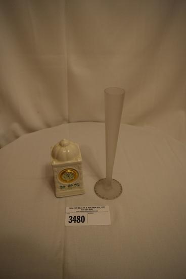 Tiffin Satin Bud Vase w/Gold Trim and Belleek Shamrock Clock