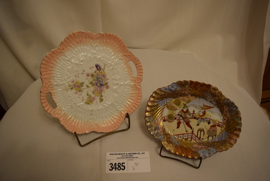 German Pink Hand Painted Plate and Japanese Hand Painted Plate