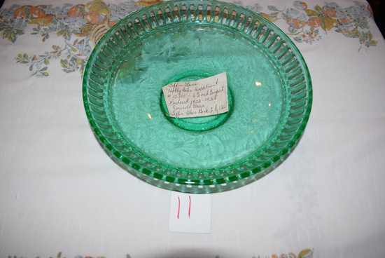 """Tiffin Glass Holly Satin 6-1/2"""" Compote"""