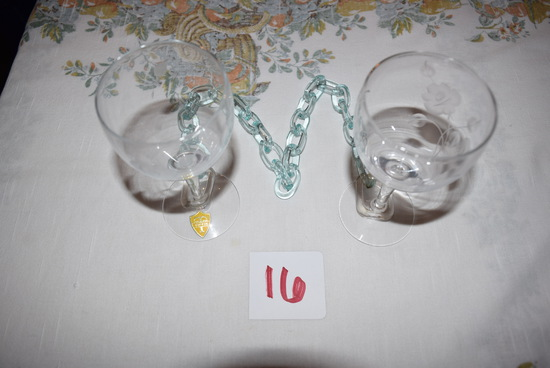 Tiffin Glass Goblets w/Chains