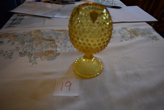 Tiffin Glass Yellow Hobnail Candleholder