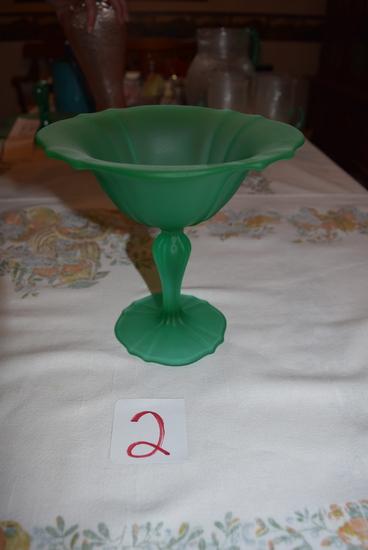 Tiffin Glass Emerald Green Satin Compote
