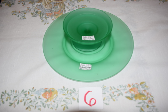 Tiffin Glass Emerald Green Cheese and Cracker 2 pcs.