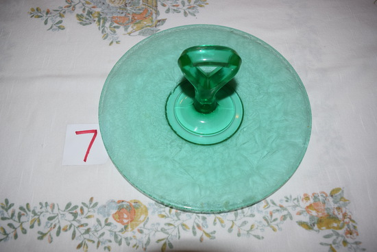 Tiffin Glass Jack Frost Emerald Green Cake Plate
