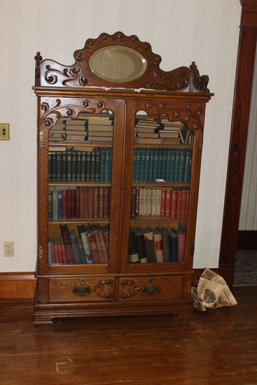 """Oak 4 shelf Bookcase with bottom drawers and fancy carving and glass doors-41"""" x 12.5"""" x 75"""""""