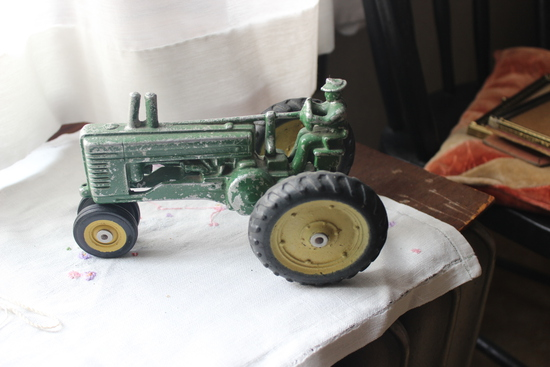 John Deere Toy Tractor with Man on the Seat