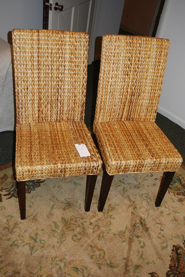 Pair Wicker High Back Chairs