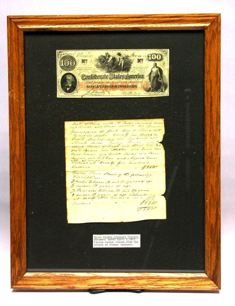 Rare Framed Virginia 1815 Slave Purchase Document (SLH)