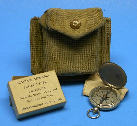 US Army Air Forces WWII Pocket Compass, Box & Pouch (MOS)