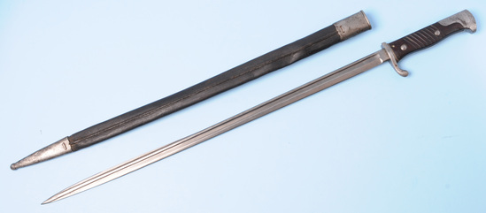 """Imperial German WWI S1898 """"Quill-Back"""" Mauser Rifle Bayonet (SRW)"""