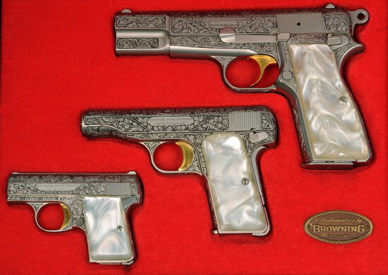 Cased Engraved Browning Renaissance Set of Semi-Auto Pistols - FFL #T213883, 631059, 425482 (RCP1)