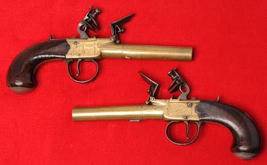Antique British Brass Barrel .45 Caliber Flintlock Pocket Pistols by I. Parr - no FFL needed (KEN 1)